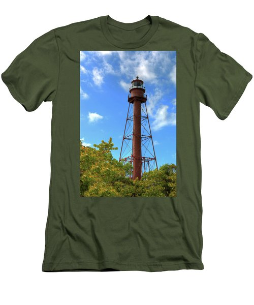 Men's T-Shirt (Slim Fit) featuring the digital art Point Ybel Lighthouse by Sharon Batdorf