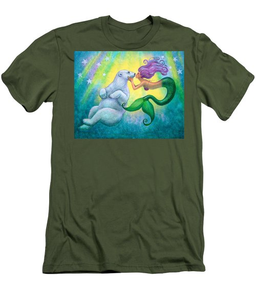 Men's T-Shirt (Slim Fit) featuring the painting Polar Bear Kiss by Sue Halstenberg