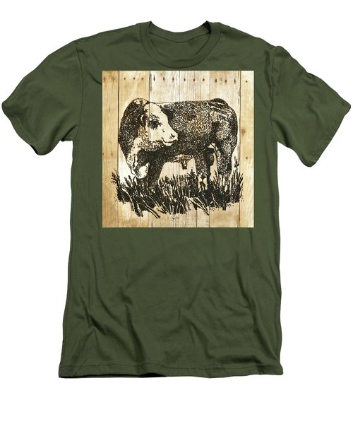 Men's T-Shirt (Slim Fit) featuring the photograph Polled Hereford Bull 11 by Larry Campbell