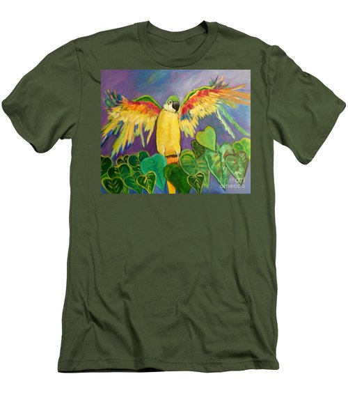 Men's T-Shirt (Slim Fit) featuring the painting Polly Wants More Than A Cracker by Rosemary Aubut