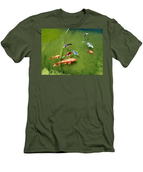 Men's T-Shirt (Slim Fit) featuring the photograph Pond With Koi Fish by Joseph Frank Baraba