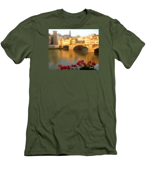 Ponte Vecchio In Florence Men's T-Shirt (Slim Fit) by Lisa Boyd