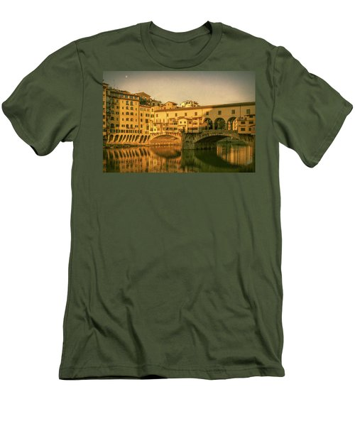 Men's T-Shirt (Slim Fit) featuring the photograph Ponte Vecchio Morning Florence Italy by Joan Carroll