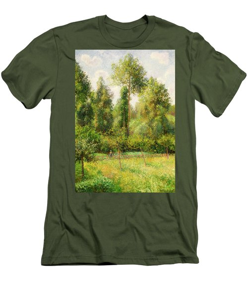 Men's T-Shirt (Slim Fit) featuring the painting Poplars - Eragny by Camille Pissaro