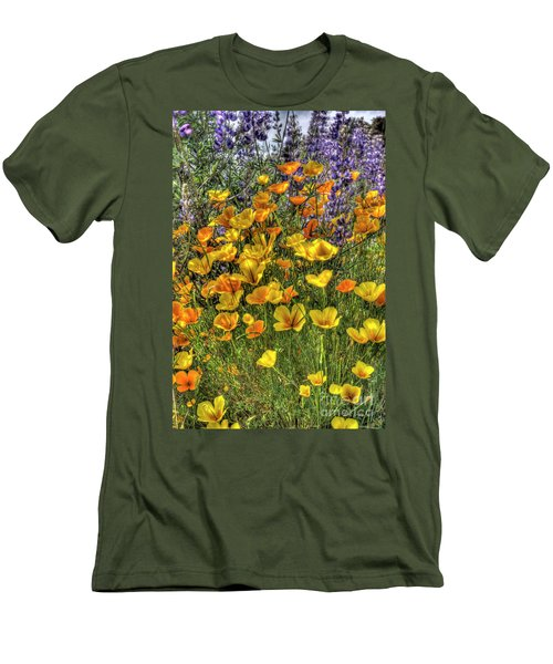 Men's T-Shirt (Slim Fit) featuring the photograph Poppies And Lupines by Jim and Emily Bush
