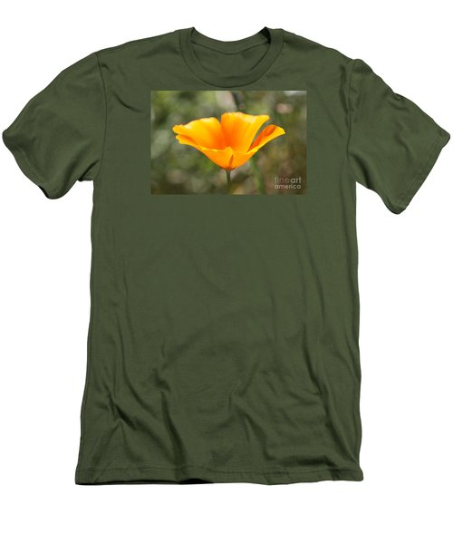 Men's T-Shirt (Slim Fit) featuring the photograph Poppy Flower by Cathy Dee Janes