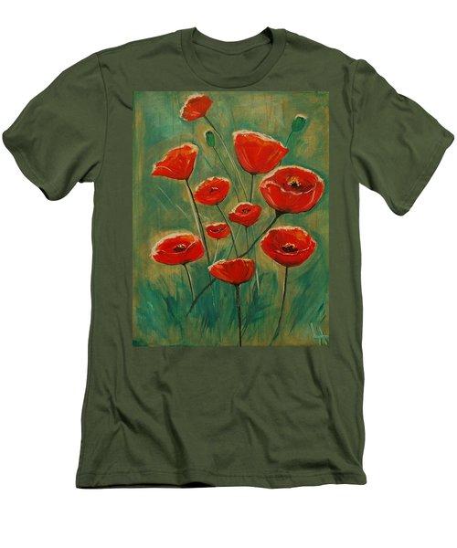 Men's T-Shirt (Slim Fit) featuring the painting Poppy Surprise by Leslie Allen