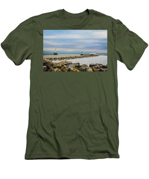 Men's T-Shirt (Slim Fit) featuring the photograph Port Washington Light 5 by Deborah Smolinske