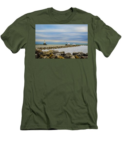 Men's T-Shirt (Slim Fit) featuring the photograph Port Washington Light 6 by Deborah Smolinske