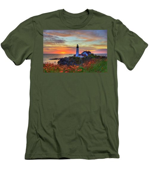 Men's T-Shirt (Athletic Fit) featuring the photograph Portland Head Lighthouse Sunrise by Joann Vitali