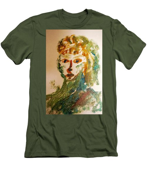 Men's T-Shirt (Slim Fit) featuring the painting Portrait Of A Girl  by Shea Holliman
