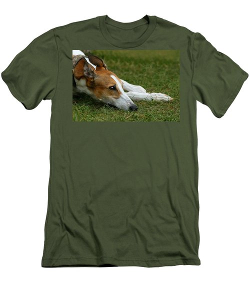 Men's T-Shirt (Slim Fit) featuring the photograph Portrait Of A Greyhound - Soulful by Angela Rath