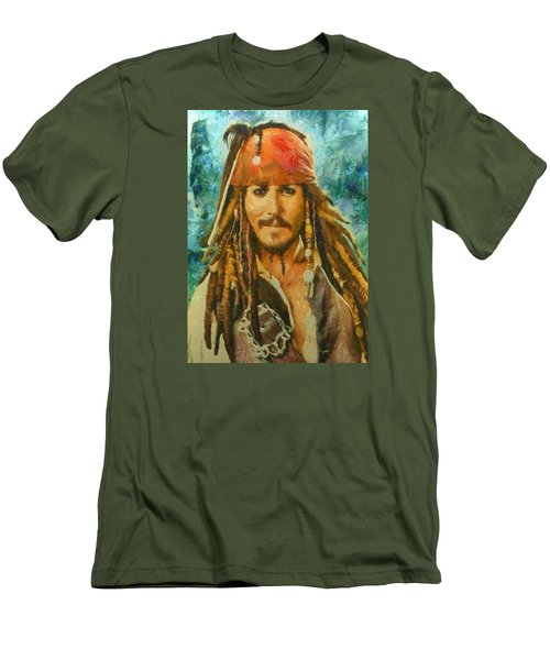 Men's T-Shirt (Slim Fit) featuring the digital art Portrait Of Johnny Depp by Charmaine Zoe