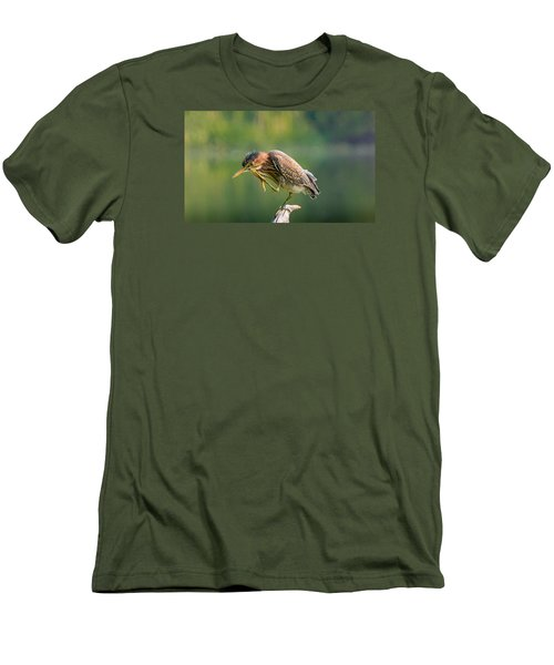 Posing Heron Men's T-Shirt (Slim Fit) by Jerry Cahill