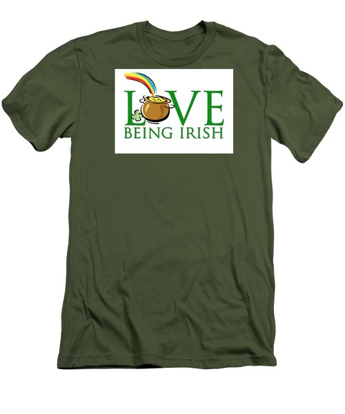 Pot Of Gold Love Being Irish Men's T-Shirt (Athletic Fit)