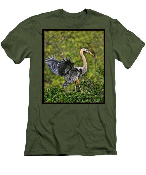 Men's T-Shirt (Slim Fit) featuring the photograph Prancing Heron by Shari Jardina