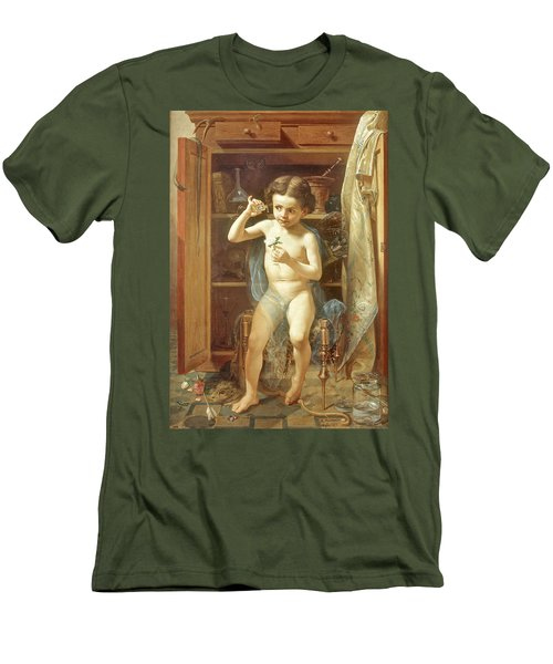 Men's T-Shirt (Slim Fit) featuring the painting Pranks Of Love by Manuel Ocaranza