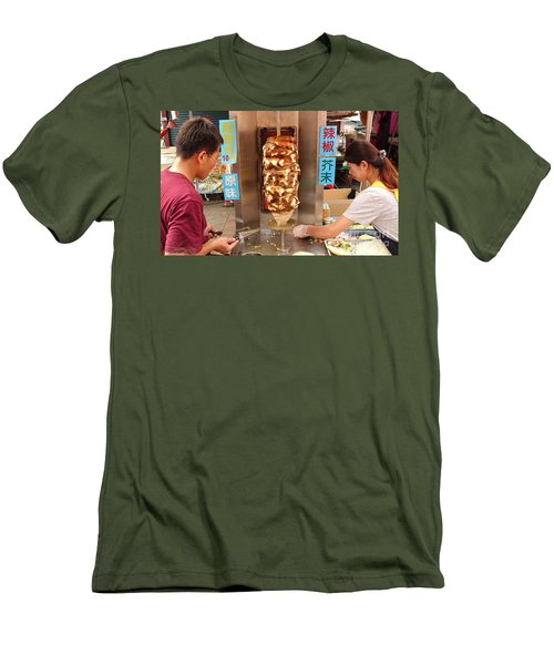 Men's T-Shirt (Slim Fit) featuring the photograph Preparing Shawarma Meat In Bread Buns by Yali Shi