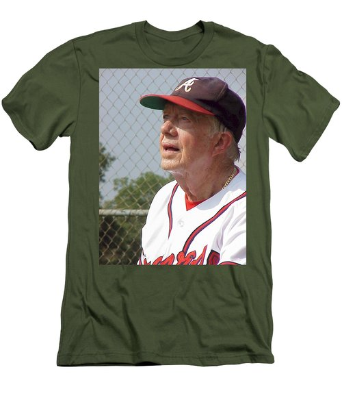 Men's T-Shirt (Slim Fit) featuring the photograph President Jimmy Carter - Atlanta Braves Jersey And Cap by Jerry Battle