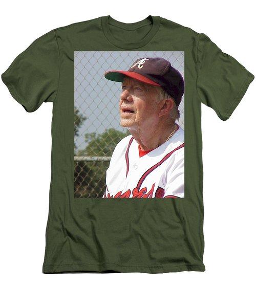 President Jimmy Carter - Atlanta Braves Jersey And Cap Men's T-Shirt (Slim Fit) by Jerry Battle