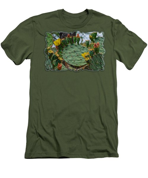 Prickly Pear Flowers H35 Men's T-Shirt (Slim Fit) by Mark Myhaver