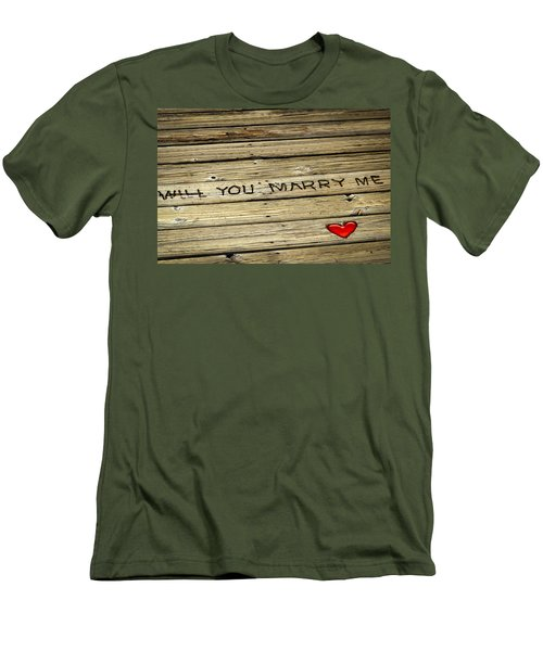 Men's T-Shirt (Slim Fit) featuring the photograph Propose To Me by Carolyn Marshall