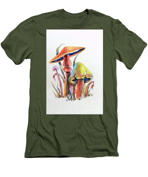Psychedelic Mushrooms Men's T-Shirt (Slim Fit) by Pattie Calfy