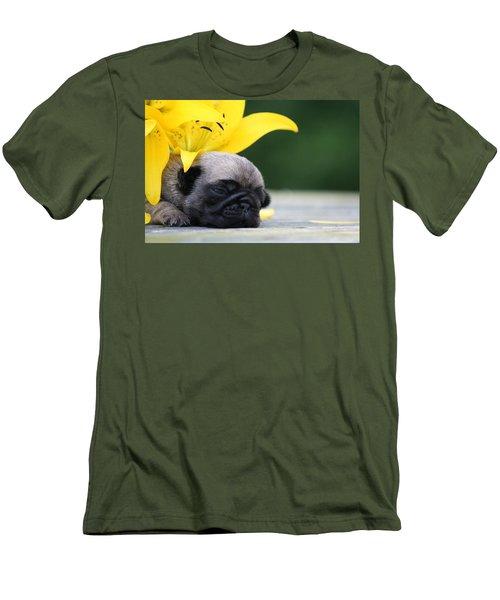 Puggy Face Bouqet Men's T-Shirt (Athletic Fit)