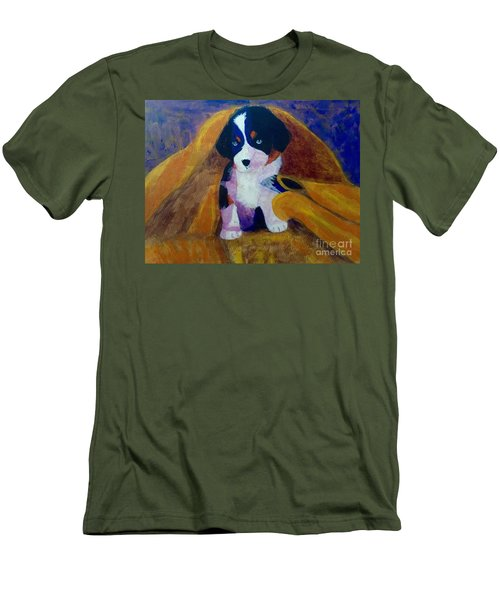 Men's T-Shirt (Slim Fit) featuring the painting Puppy Bath by Donald J Ryker III