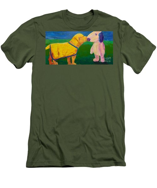 Men's T-Shirt (Slim Fit) featuring the painting Puppy Say Hi by Donald J Ryker III
