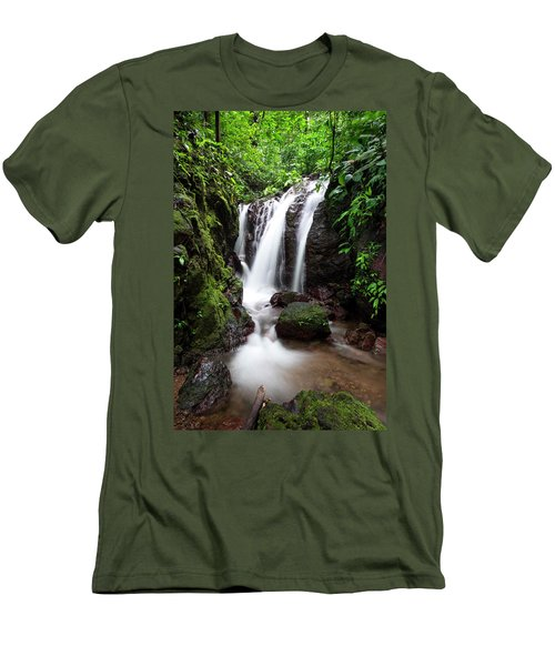 Men's T-Shirt (Athletic Fit) featuring the photograph Pura Vida Waterfall by David Morefield