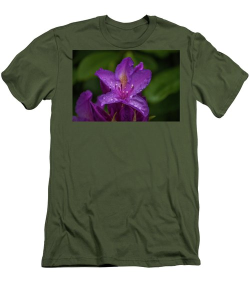 Men's T-Shirt (Slim Fit) featuring the photograph Purple Flower 7 by Timothy Latta