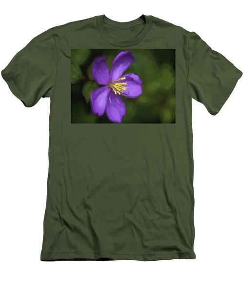 Men's T-Shirt (Slim Fit) featuring the photograph Purple Flower Macro Impression by Dan McManus