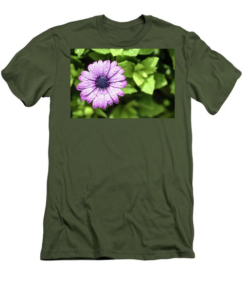 Purple Flower On Green Men's T-Shirt (Athletic Fit)