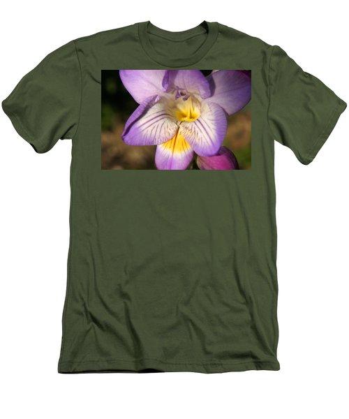 Purple Fresia Flower Men's T-Shirt (Slim Fit) by Ralph A  Ledergerber-Photography