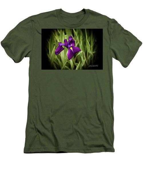 Men's T-Shirt (Slim Fit) featuring the photograph Purple Japanese Iris by Joann Copeland-Paul