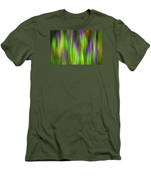 Purple Sage Digital Abstracts Motion Blur Men's T-Shirt (Slim Fit) by Rich Franco