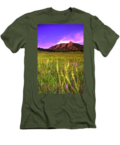 Purple Skies And Wildflowers Men's T-Shirt (Slim Fit) by Scott Mahon