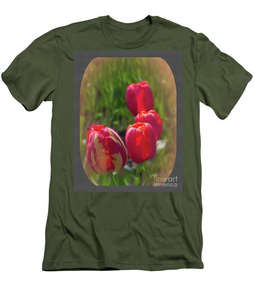 Quad Tulips Men's T-Shirt (Athletic Fit)