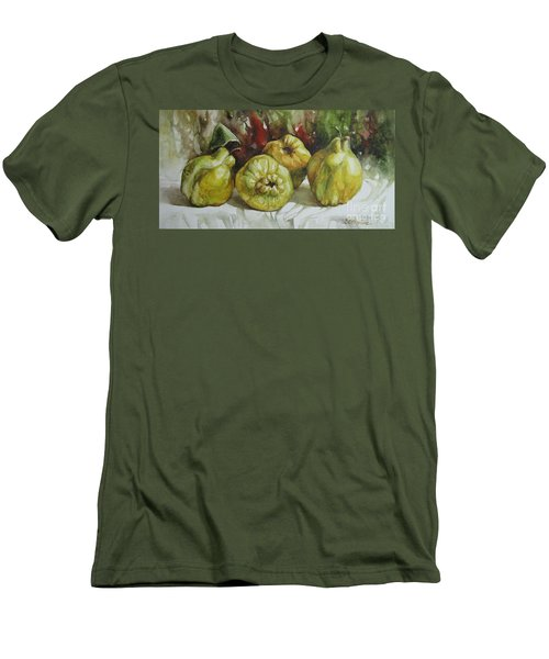 Men's T-Shirt (Slim Fit) featuring the painting Quinces by Elena Oleniuc