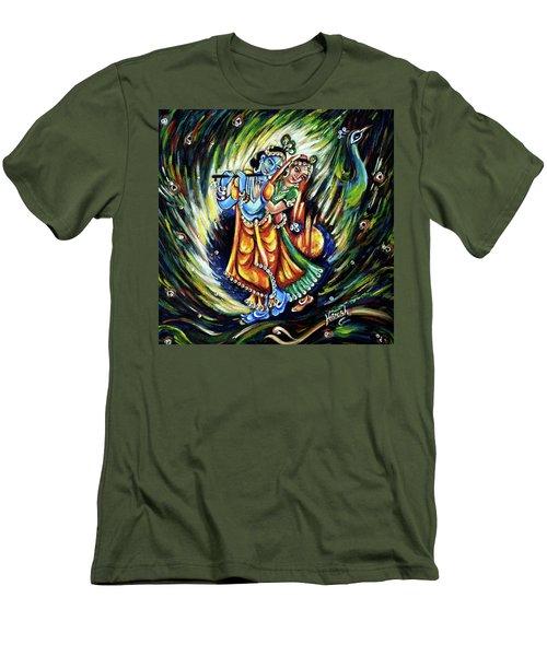 Men's T-Shirt (Slim Fit) featuring the painting Radhe Krishna by Harsh Malik