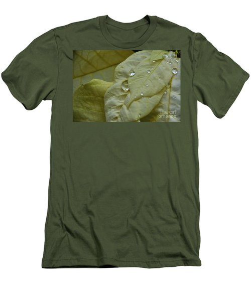 Rain Drops On A  White Poinsettia Men's T-Shirt (Athletic Fit)