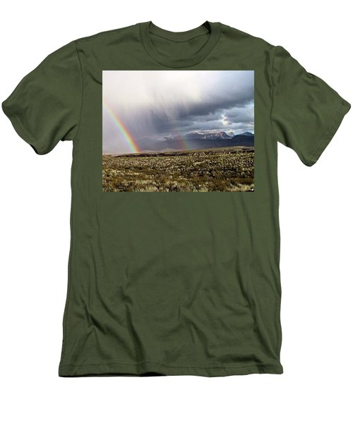Men's T-Shirt (Slim Fit) featuring the painting Rain In The Desert by Dennis Ciscel