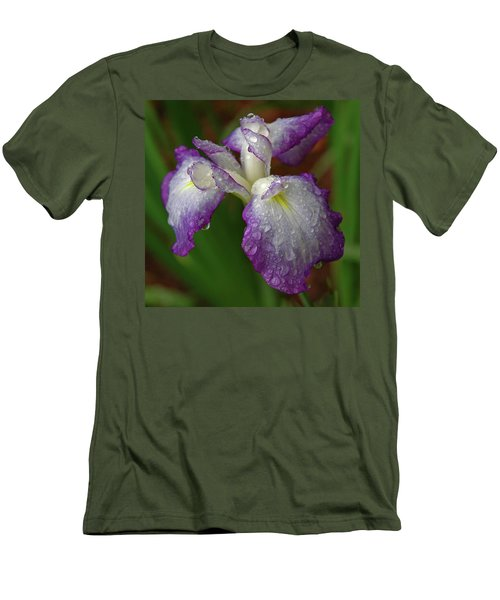 Rain-soaked Iris Men's T-Shirt (Slim Fit) by Marie Hicks