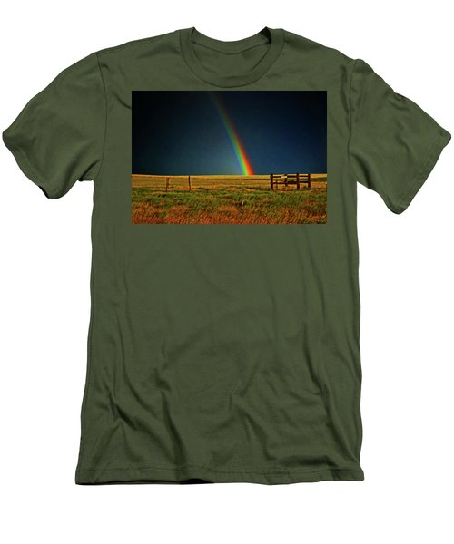 Men's T-Shirt (Slim Fit) featuring the photograph Rainbow In A Field 001 by George Bostian