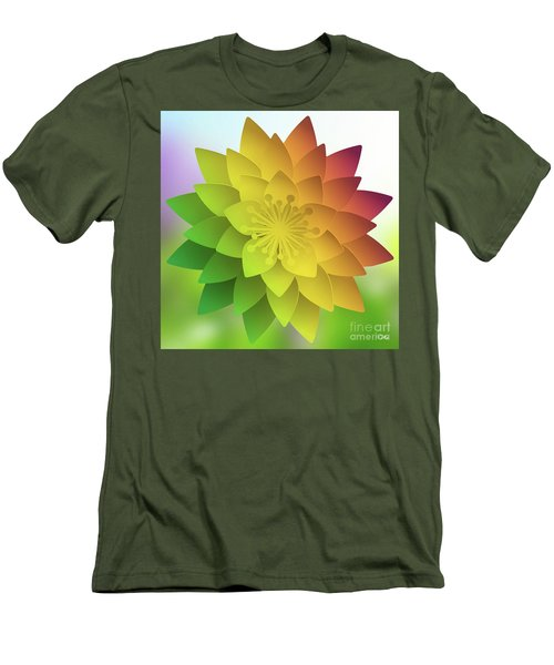 Rainbow Lotus Men's T-Shirt (Slim Fit) by Mo T