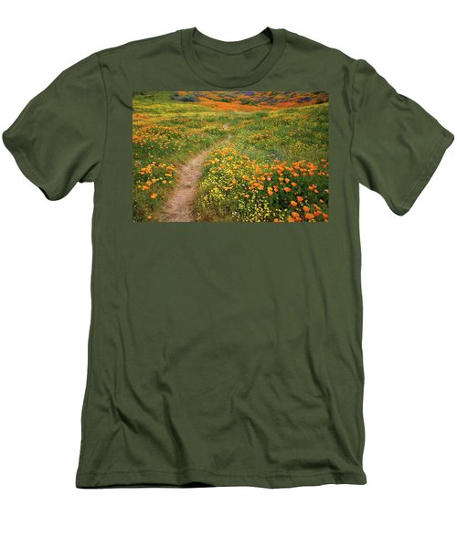 Men's T-Shirt (Slim Fit) featuring the photograph Rainbow Of Wildflowers Bloom Near Diamond Lake In California by Jetson Nguyen