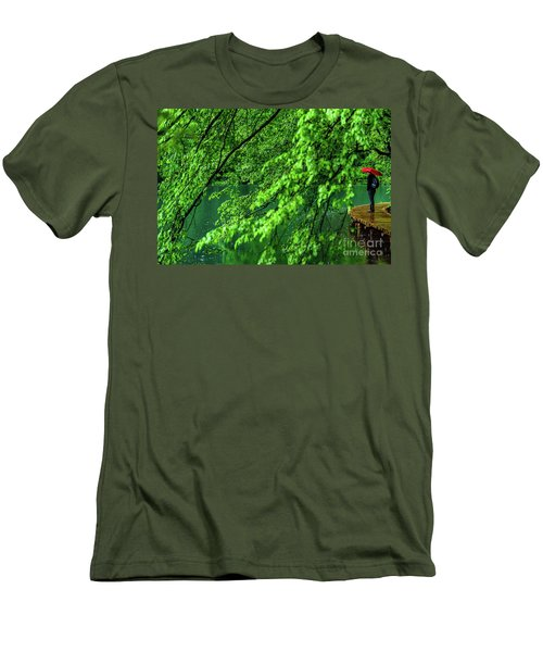 Raining Serenity - Plitvice Lakes National Park, Croatia Men's T-Shirt (Athletic Fit)