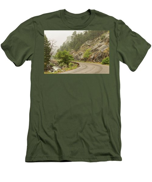Men's T-Shirt (Athletic Fit) featuring the photograph Rainy Misty Boulder Creek And Boulder Canyon Drive by James BO Insogna