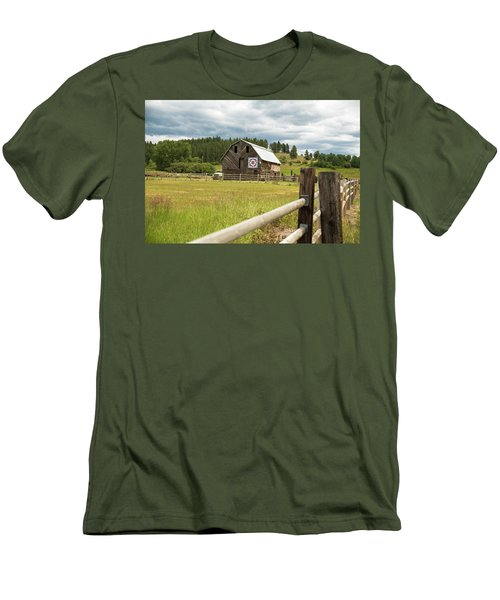 Ranch Fence And Barn With Hex Sign Men's T-Shirt (Athletic Fit)